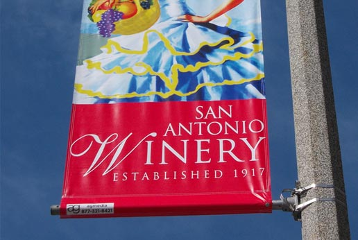 san antonio winery city light pole banners
