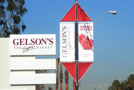 gelson's parking lot pole banners