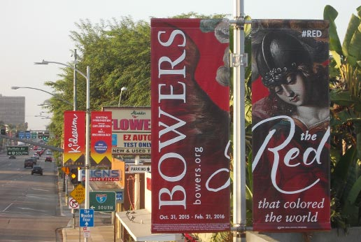 the bowers museum city light pole banners in los angeles