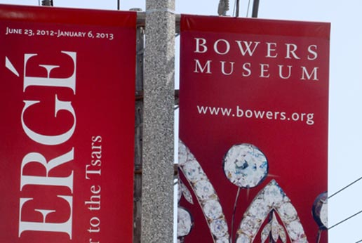 bowers museum light pole banners in la